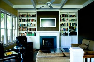 Family-room-brown-walls