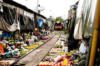 Train-coming-through-market